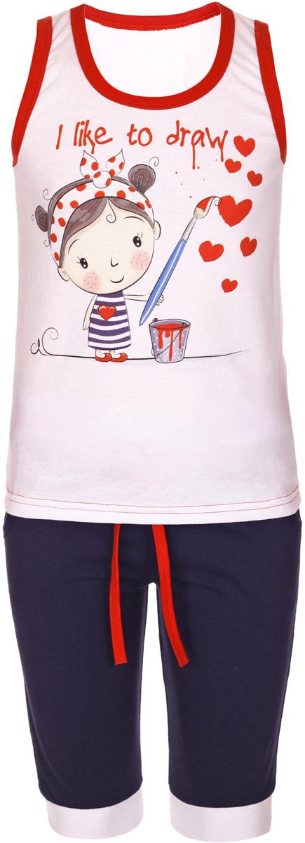 Комплект одеждыМ18901Комплект для девочки M&D выполнен из натурального хлопка. В комплект входит майка и шорты. Майка с круглым вырезом горловины украшена принтом. Шорты дополнены эластичной резинкой на талии.