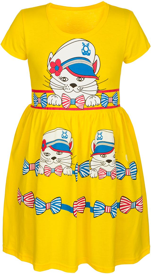 ПлатьеМ76902Платье для девочки M&D станет отличным элементом гардероба девочки. Изготовленное из мягкого хлопка, оно тактильно приятное, хорошо пропускает воздух. Платье с круглым вырезом горловины и короткими рукавами. От линии талии заложены складочки, придающие платью пышность. Изделие оформлено принтом с изображением котика в капитанской фуражке и бантиков.
