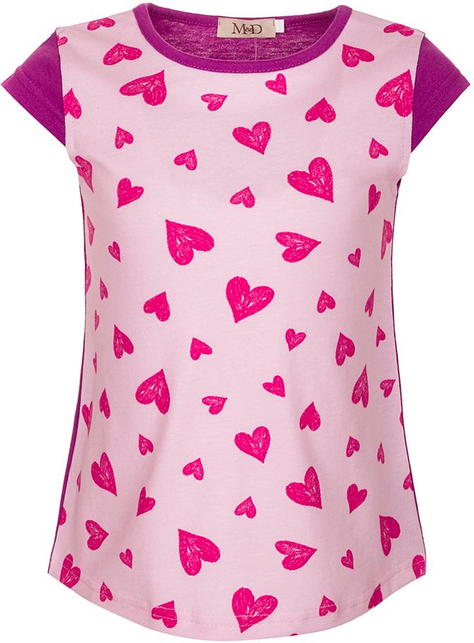 ФутболкаSJF27022M05Футболка для девочки M&D исполнена из 100% натурального хлопка. Модель имеет круглый вырез горловины, дополненный трикотажной бейкой, рукав-крылышко. Футболка спереди оформлена ярким принтом в крупное сердечко. Нежная к телу и приятно оформленная текстильная футболка обязательно понравится ребенку и подарит ему комфорт.