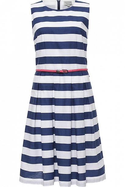 Платье Finn Flare, цвет: темно-синий. S17-14084_101. Размер L (48)S17-14084_101Платье Finn Flare выполнено из хлопка. Модель с круглым вырезом горловины оформлено принтом в полоску.