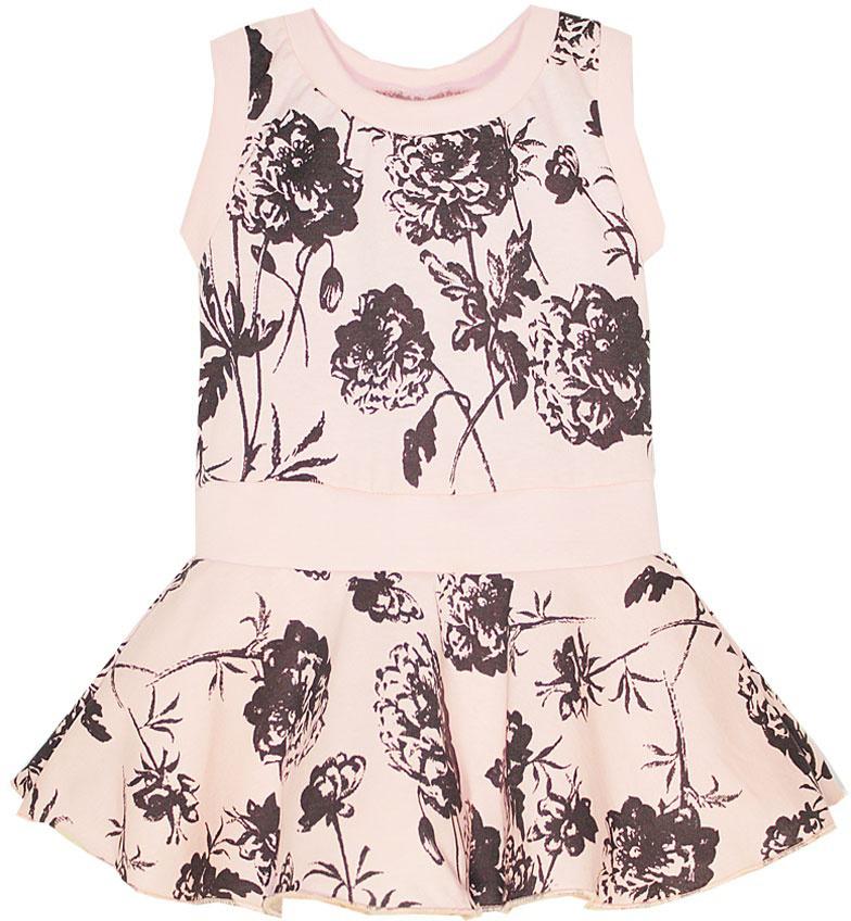 Платье для девочки КотМарКот, цвет: розовый. 21609. Размер 11021609Платье для девочки КотМарКот выполнено из натурального хлопка и оформлено принтом с розами. Модель с круглым вырезом горловины и юбкой-полусолнце.