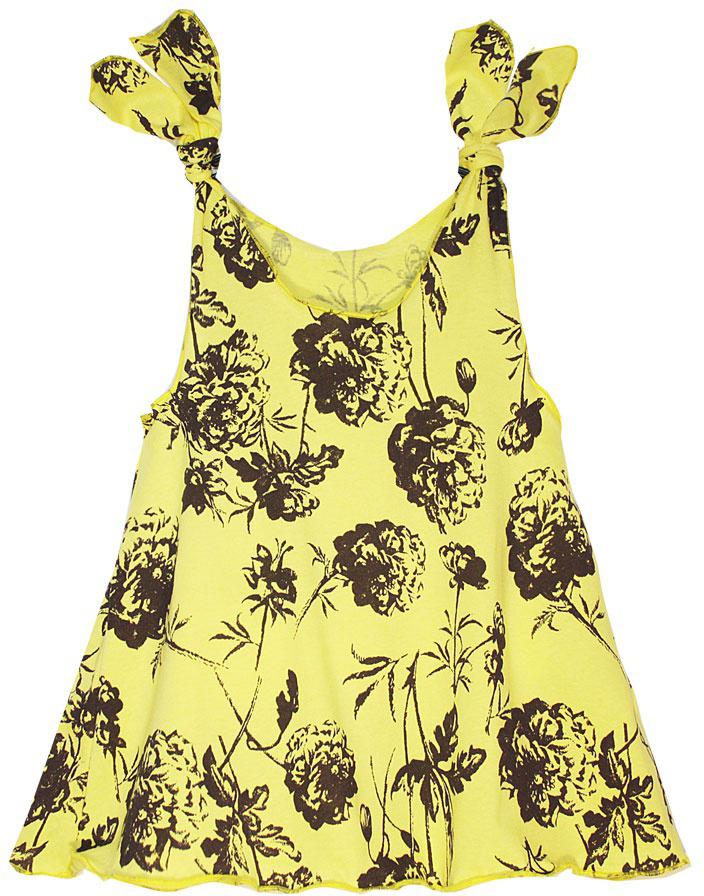 Платье21408Платье КотМарКот выполнено из натурального хлопка, приятного на ощупь. Модель с круглым воротником без рукавов оформлена оригинальным принтом.