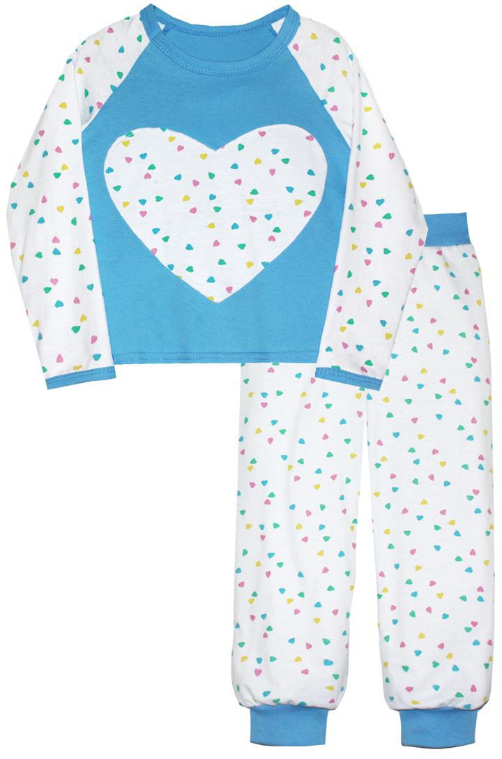 Пижама16513Пижама для девочки КотМарКот изготовлена из натурального хлопка и состоит из кофточки и брючек. Кофточка выполнена с длинными рукавами и удобным круглым воротом. Штанишки на талии собраны на эластичную резинку. Кофточка оформлена крупной оригинальной аппликацией в виде сердца. Манжеты брюк, рукавов и горловина кофты отделаны эластичными мягкими резинками.