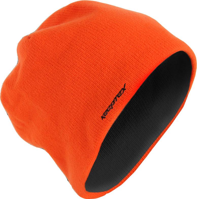 Шапка Keeptex, цвет: оранжевый. GH653. Размер 56/59GH653Вязаная шапка имеет трехслойную структуру. Внутренний слой, непосредственно соприкасающийся с кожей головы и волосяным покровом, изготавливается из антибактериального микрофлиса, создающего ощущение мягкости, тепла и комфорта. Средний слой составляет специальная дышащая мембрана PORELLE ®, разработанная на основе современных нанотехнологий. Высокое качество мембраны, ее уникальные свойства делают изделия водонепроницаемыми, эластичными, надежно защищающими вашу голову от ветра и влаги, а также гарантируют их длительное использование. Наружный слой выполняется из невпитывающих и непроводящих влагу нитей акрила, которые делают изделия долговечными, прочными, сохраняющими форму и внешний вид. Вязаная шапка специально разработана для использования на открытом воздухе в холодное время года. Внутренний слой – 100% микрофлис.Мембранная вставка - водонепроницаемая дышащая ветронепроницаемая полиуретановая мембрана PORELLE SPORT ® 25 микрон.Внешний слой – 100% акрил.