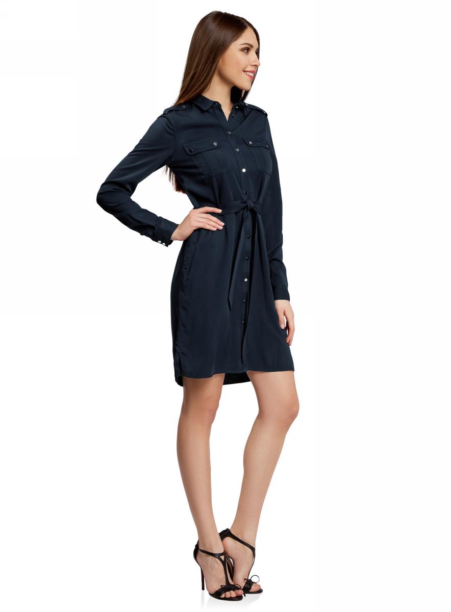Платье21911020/46336/7900NПлатье-рубашка с поясом и нагрудными карманами
