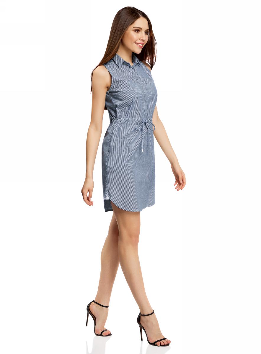 Платье oodji Ultra, цвет: темно-синий, белый, полоски. 11901147-1/46593/7910S. Размер 42-164 (48-164)11901147-1/46593/7910SСтильное легкое платье выполнено из хлопка с небольшим добавлением эластана. Модель с отложным воротником и без рукавов дополнено нагрудными кармашками. На талии платье имеет утягивающий шнурок.