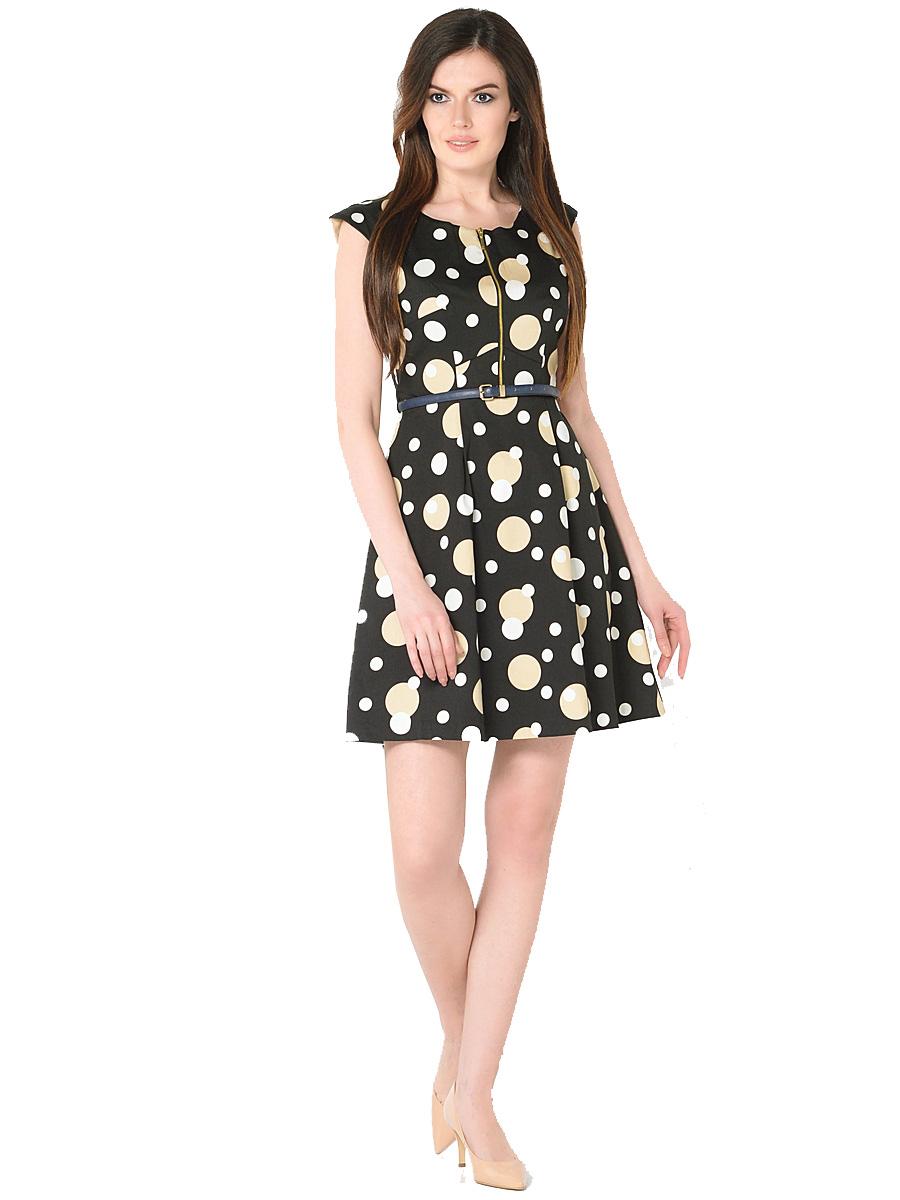 ПлатьеWD-2418VПлатье полуприлегающего силуэта, без рукавов, со спущенной линией плеча, отрезное по линии талии, со съемным поясом.На юбке по линии талии заложены мягкие складки.