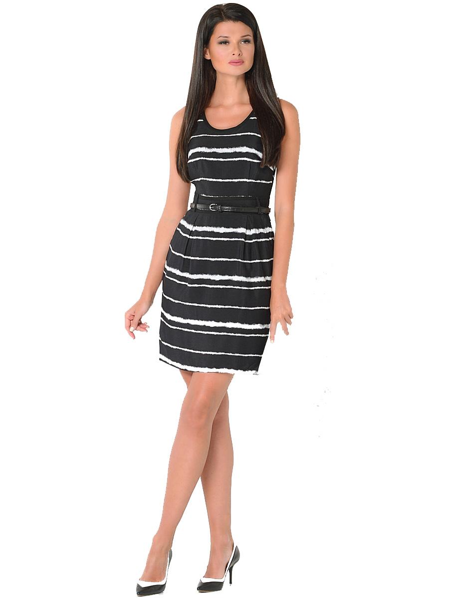 ПлатьеWD-2417VПлатье полуприлегающего силуэта, без рукавов, отрезное по линии талии, со съемным поясом.На юбке по линии талии заложены мягкие складки.