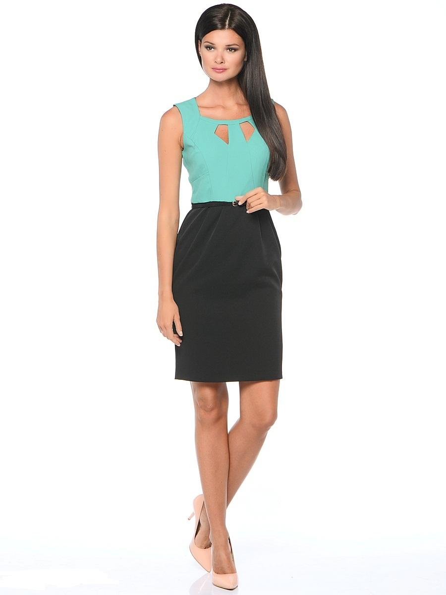 Платье Milton, цвет: бирюзовый, черный. WD-2421V. Размер 48WD-2421VПлатье-карандаш прилегающего силуэта, без рукавов, отрезное по линии талии, со съемным ремешком. Лиф платья - из яркой однотонной ткани, юбка - из ткани черного цвета.