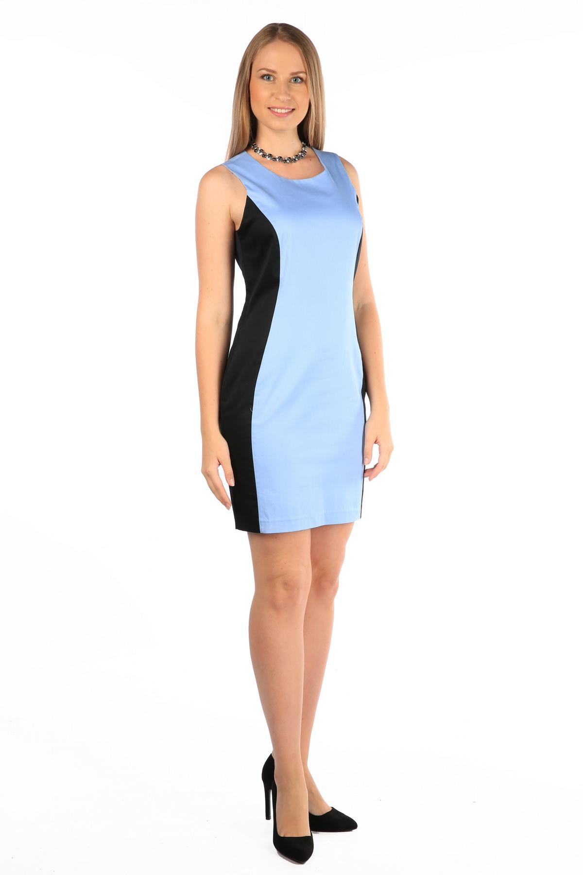 ПлатьеWD-2416VПлатье полуприлегающего силуэта, без рукавов, 2-цветное, бочки переда - из отделочной (черной) ткани.