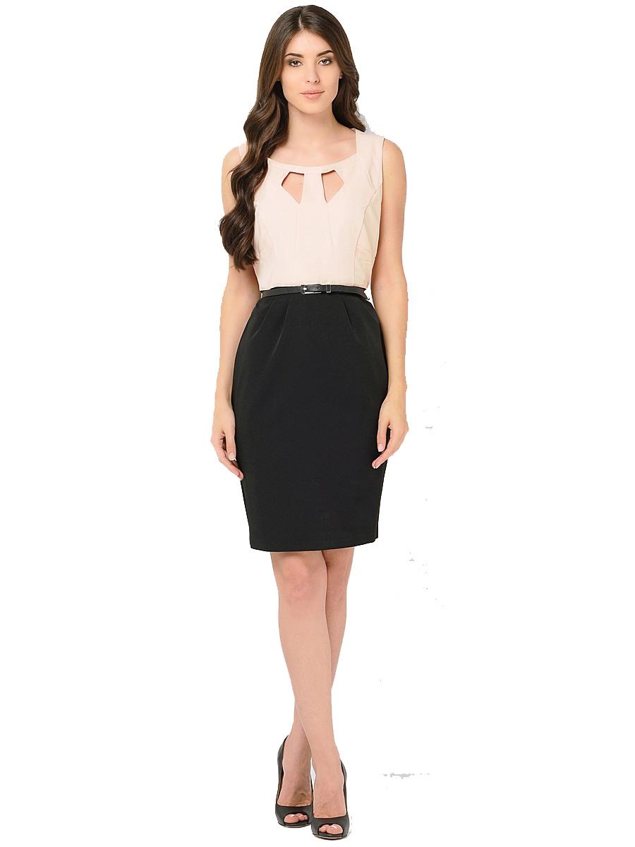 ПлатьеWD-2421VПлатье прилегающего силуэта, двухцветное, без рукавов, отрезное по линии талии, со съемным поясом. Лиф платья - из яркой однотонной ткани, юбка - из ткани черного цвета.