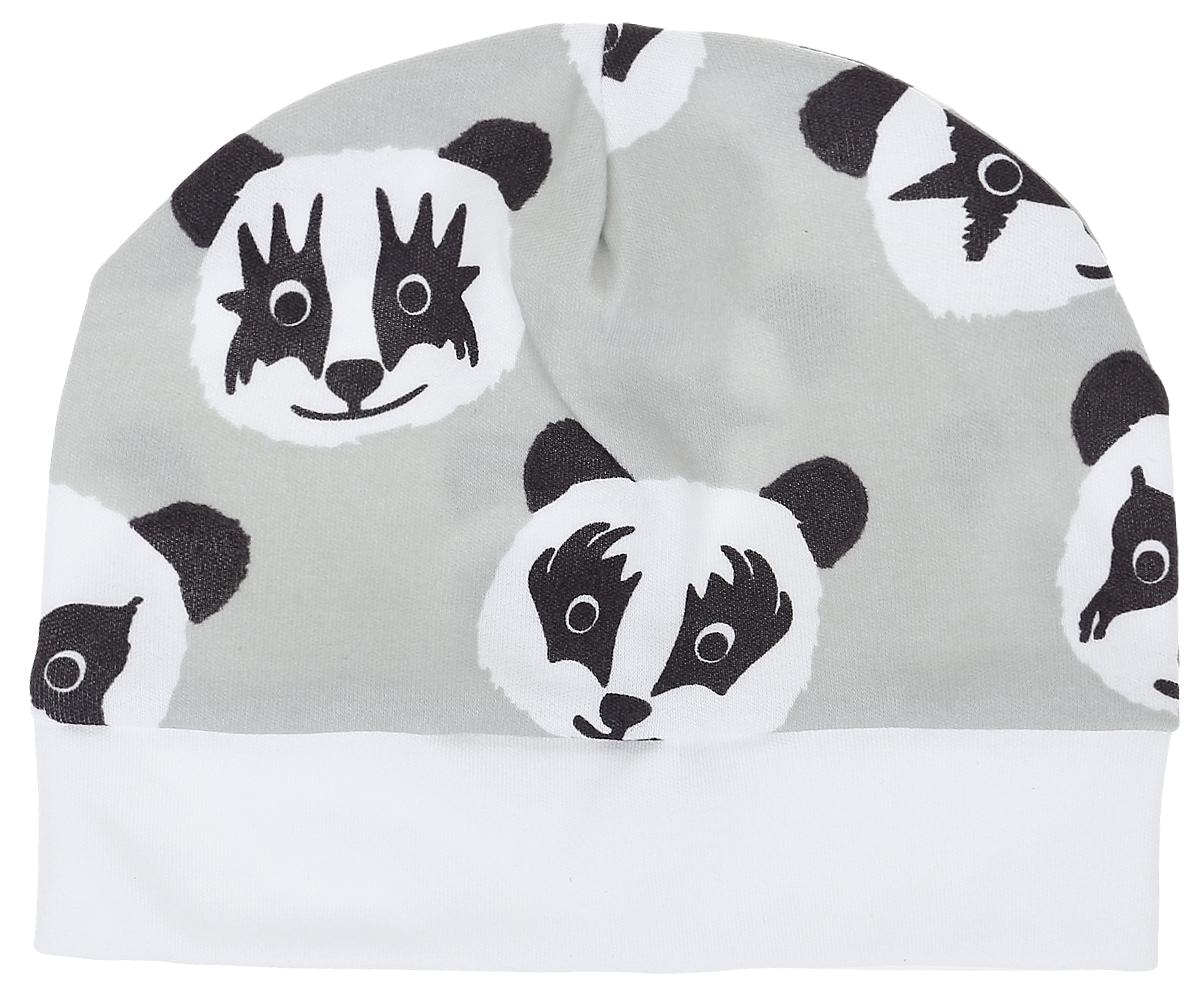 Чепчик8522Чепчик КотМарКот выполнен из натурального хлопка и оформлен оригинальным принтом с пандами. Модель по низу дополнена широкой резинкой.