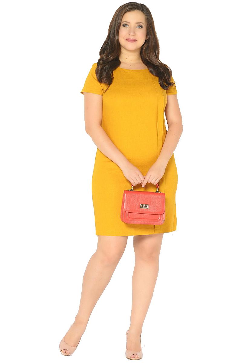 Платье Milton, цвет: желтый. WD-2601F. Размер 52WD-2601FЛьняное платье полуприлегающего силуэта, с короткими втачными рукавами, с кокеткой по переду, от которой с левой стороны застрочена вертикальная складка до низа.