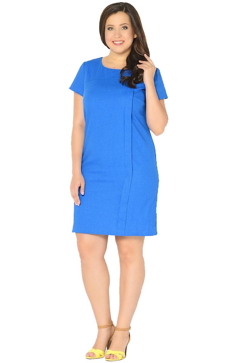 Платье Milton, цвет: синий. WD-2601F. Размер 48WD-2601FЛьняное платье полуприлегающего силуэта, с короткими втачными рукавами, с кокеткой по переду, от которой с левой стороны застрочена вертикальная складка до низа.