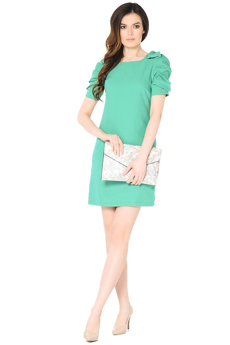 Платье Milton, цвет: зеленый. WD-2453F-1. Размер 56WD-2453FПлатье полуприлегающего силуэта, с втачными рукавами с драпировкой. На плечевых швах - отделочные банты из основной ткани.