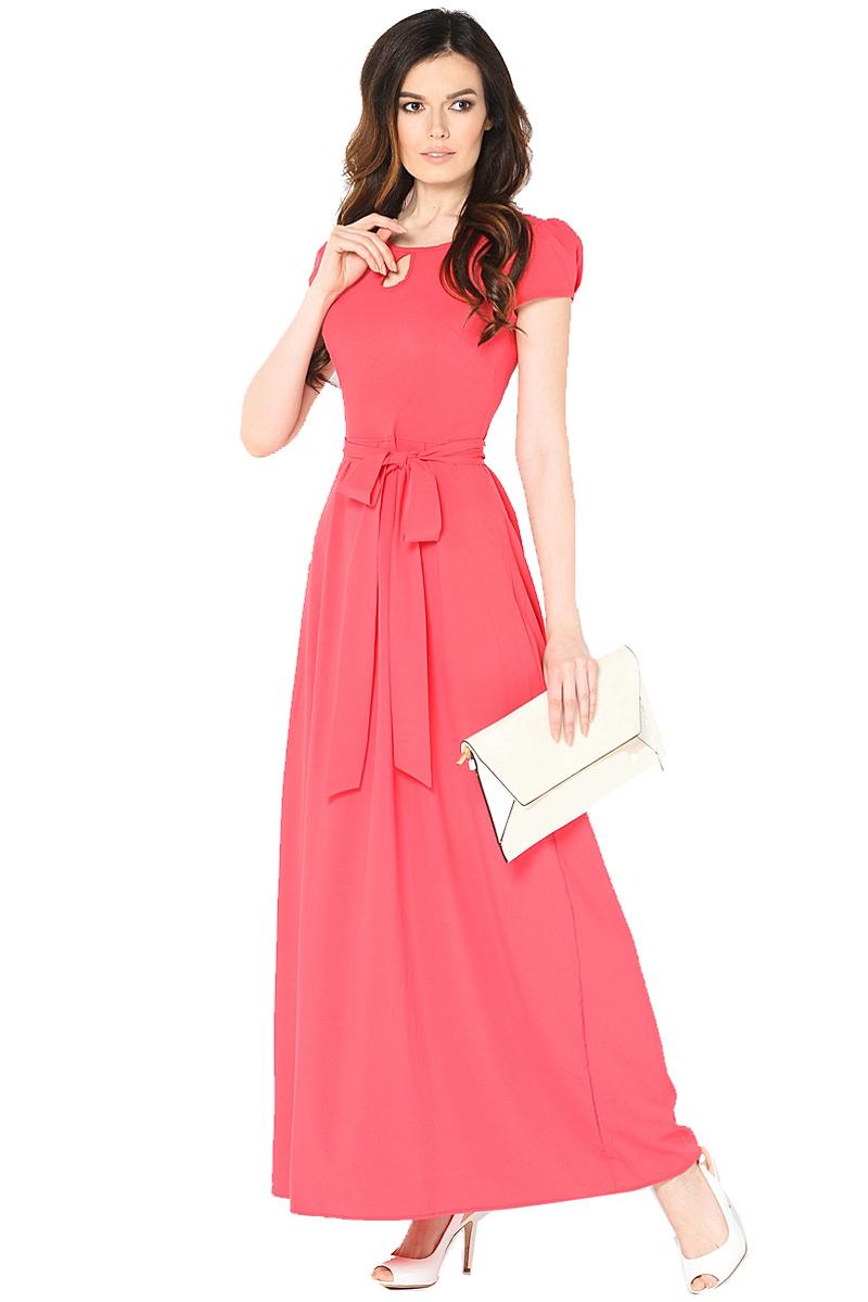 Платье Milton, цвет: красный. WD-2470F. Размер 46WD-2470FДлинное платье в пол полуприлегающего силуэта, с короткими втачными рукавами, отрезное по линии талии, со съемным поясом.