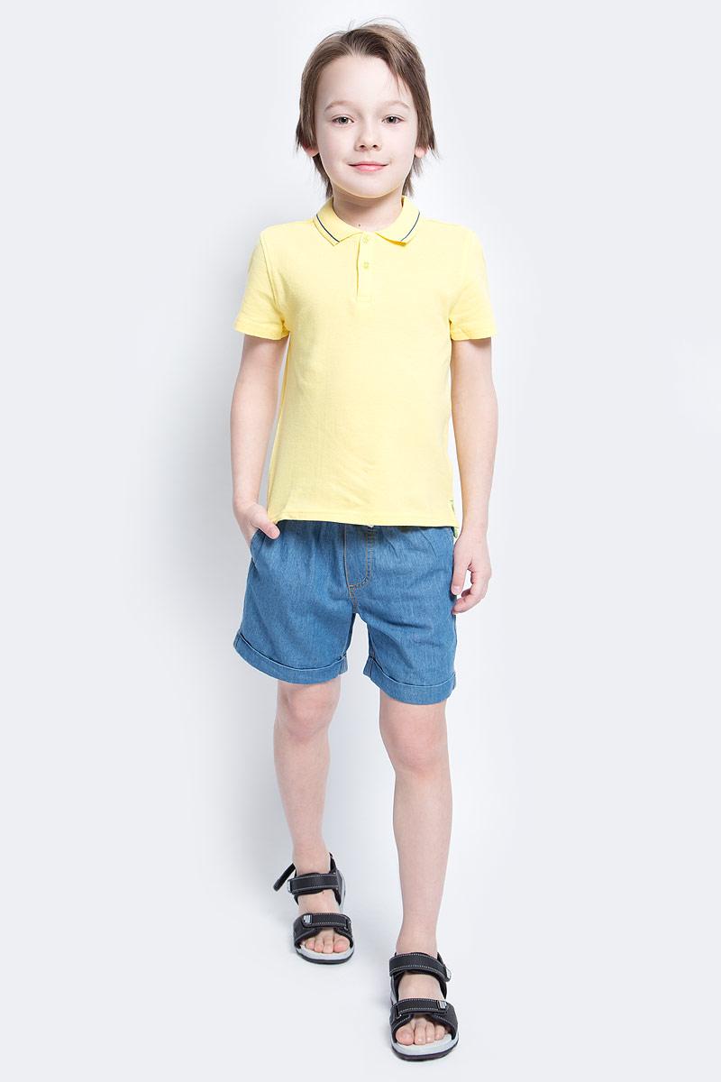Поло для мальчика Button Blue Main, цвет: желтый. 117BBBC14012700. Размер 116, 6 лет117BBBC14012700Футболка-поло - изделие из разряда Must Have. Это не только базовая вещь в гардеробе ребенка, но и залог хорошего летнего настроения. Если вы решили купить недорогуюфутболку-поло для мальчика, выберете эту модель от Button Blue и ваш ребенок будет доволен.
