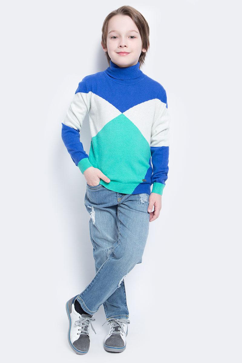Свитер для мальчика Nota Bene, цвет: синий, зеленый, белый. WW5210-13. Размер 122WW5210-13Тонкий свитер для мальчика Nota Bene идеально подойдет вашему ребенку в прохладные дни. Изготовленный из высококачественной пряжи, он необычайно мягкий и приятный на ощупь, не сковывает движения ребенка и хорошо сохраняет тепло, обеспечивая наибольший комфорт. Свитер с длинными рукавами и воротником-гольф. Низ рукавов, воротник и низ изделия связаны резинкой. Изделие выполнено из пряжи различных цветов.Современный дизайн и расцветка делают этот свитер незаменимым предметом детского гардероба. В нем вашему маленькому мужчине будет уютно и тепло, и он всегда будет в центре внимания!