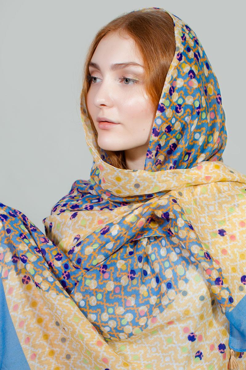 Палантин Sophie Ramage, цвет: голубой, бежевый. RW-11701-1. Размер 80 см х 180 смRW-11701-1Яркий палантин Sophie Ramage изготовлен из модала и шелка. Модель оформлена оригинальным принтом. Изделия Sophie Ramage приятные на ощупь и подойдут к любому стилю.
