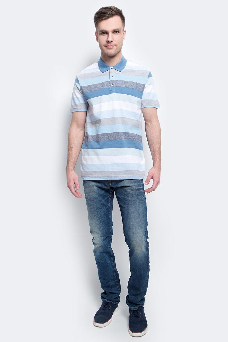 Поло мужское Finn Flare, цвет: ярко-синий. S17-42024_111. Размер S (46)S17-42024_111Поло мужское Finn Flare выполнено из натурального хлопка. Модель с отложным воротником и короткими рукавами.