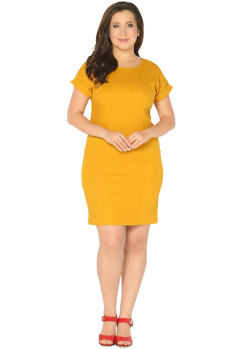 ПлатьеWD-2602FЛьняное платье полуприлегающего силуэта, с короткими цельнокроенными рукавами с манжетами. Перед платья с рельефными швами, в бочках переда обработаны карманы с отворотами.