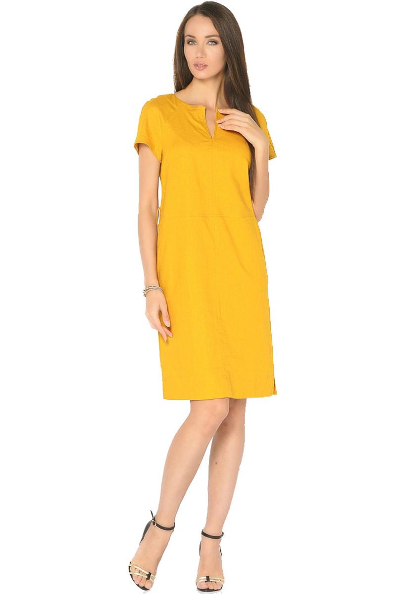 ПлатьеWD-2603FЛьняное платье полуприлегающего силуэта, отрезное по линии талии с короткими рукавами покроя реглан. По центру горловины - вертикальный разрез, в боковых швах юбки - карманы. По низу юбки в боковых швах - небольшие разрезы.