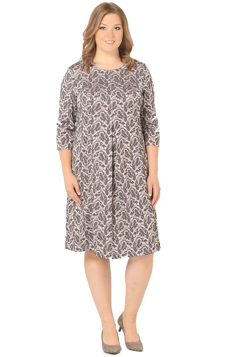 ПлатьеWD-2604FПлатьеА-образного силуэта с втачными рукавами длиной 3/4, по переду от груди вниз - встречная складка.