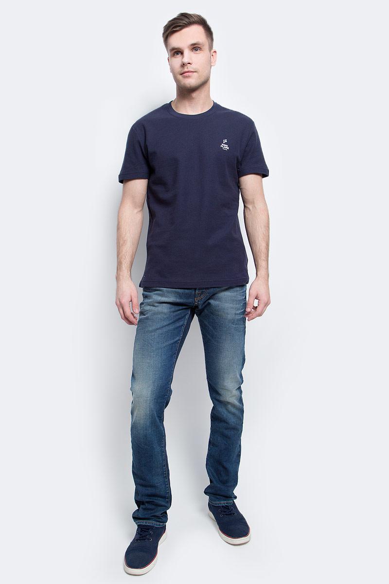 Футболка мужская Finn Flare, цвет: темно-синий. S17-21023_101. Размер L (50)S17-21023_101Футболка мужская Finn Flare выполнена из натурального хлопка. Модель с круглым вырезом горловины и короткими рукавами.