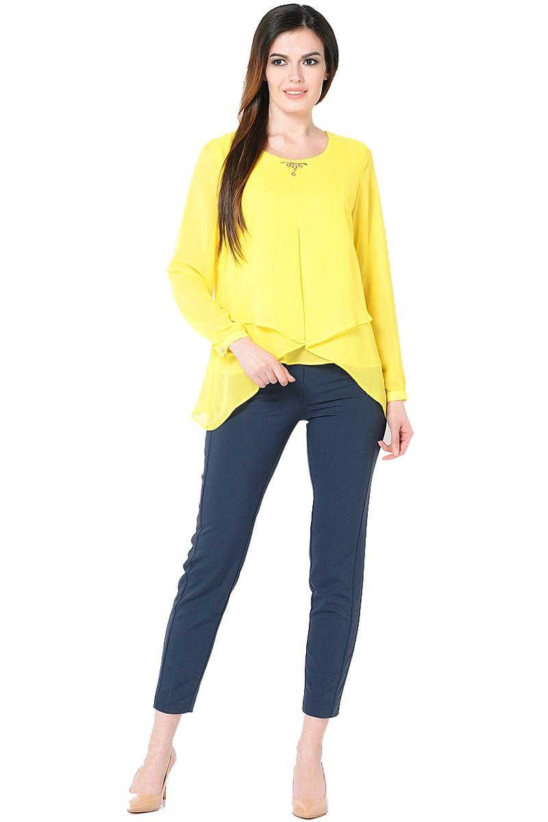Блузка женская Milton, цвет: желтый. WP-6511F. Размер 52WP-6511FДвухслойная блузкас длинными втачными рукавами. Круглый вырез горловины, по центру - отделочная деталь.