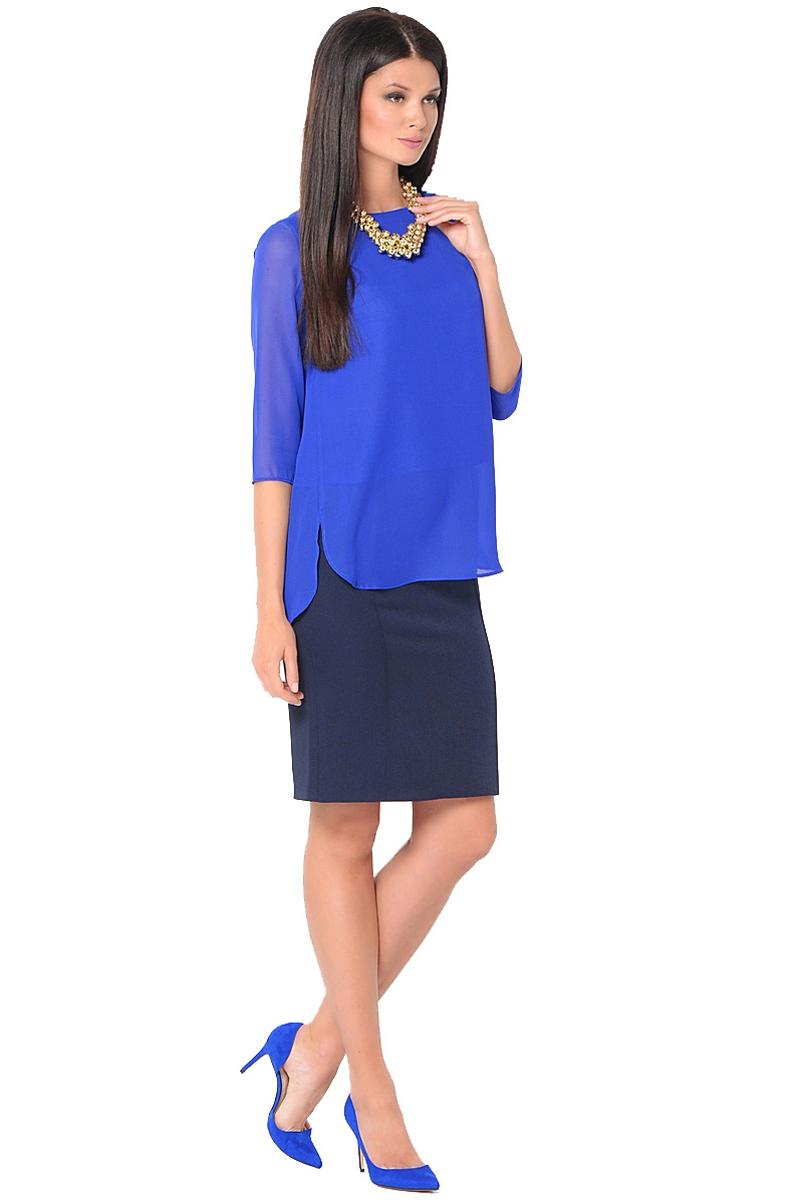 Блузка женская Milton, цвет: синий. WP-6512F. Размер 46WP-6512FБлузка свободного силуэта, круглый вырез горловины, рукава длиной 3/4.