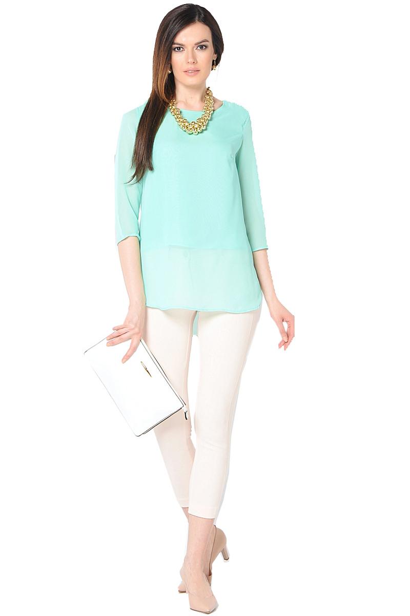 Блузка женская Milton, цвет: ментоловый. WP-6512F. Размер 48WP-6512FБлузка свободного силуэта, круглый вырез горловины, рукава длиной 3/4.