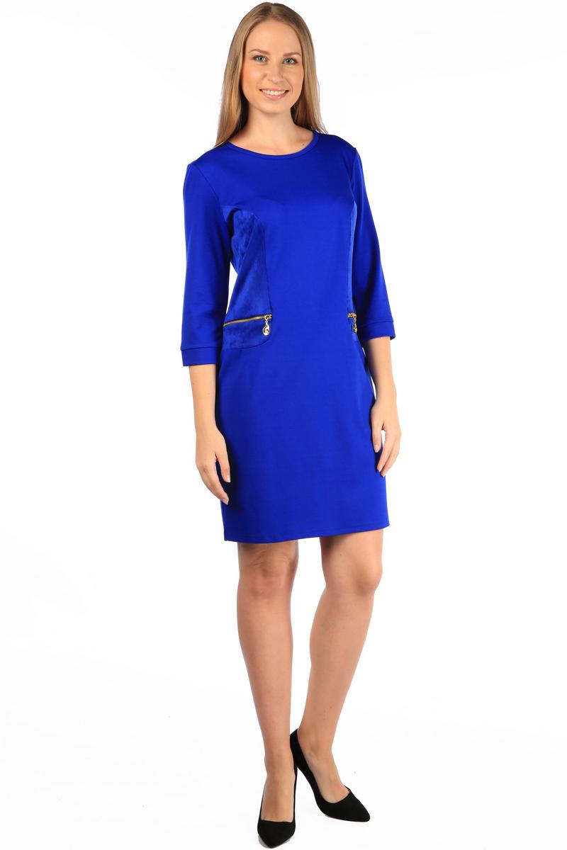 Платье Milton, цвет: синий. WD-2505F. Размер 48WD-2505FПлатье полуприлегающего силуэта, с рукавами длиной 1/2, с деталями отделки из искуственной замши. На полочках обработаны обманки-карманы с металлическими молниями.
