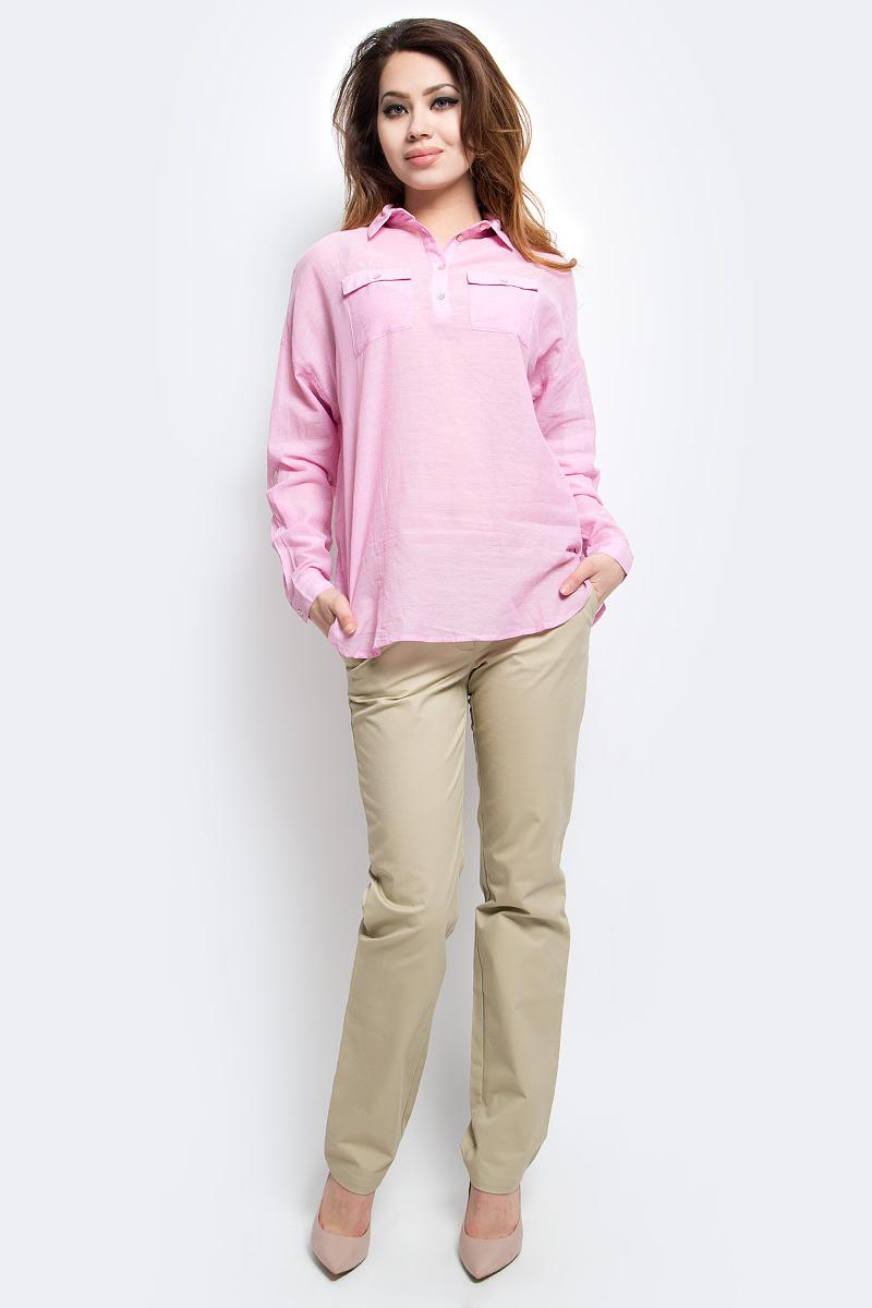 БлузкаS17-14077_105Блузка женская Finn Flare выполнена из 100% хлопка. Модель с отложным воротником и длинными рукавами застегивается на пуговицы.