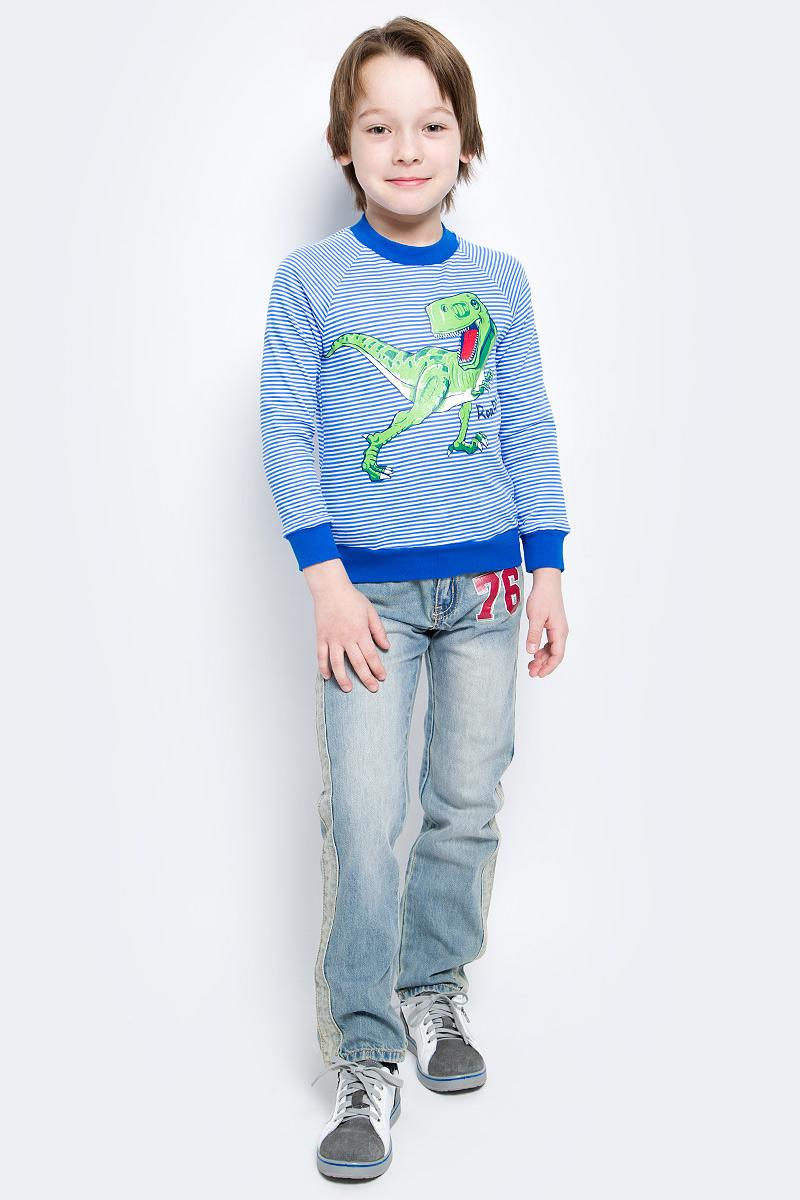 Футболка с длинным рукавомWJK16004M-23Лонгслив для мальчика выполнен натурального хлопка. Модель с круглым вырезом горловины и длинными рукавами-реглан оформлена изображением динозавра.