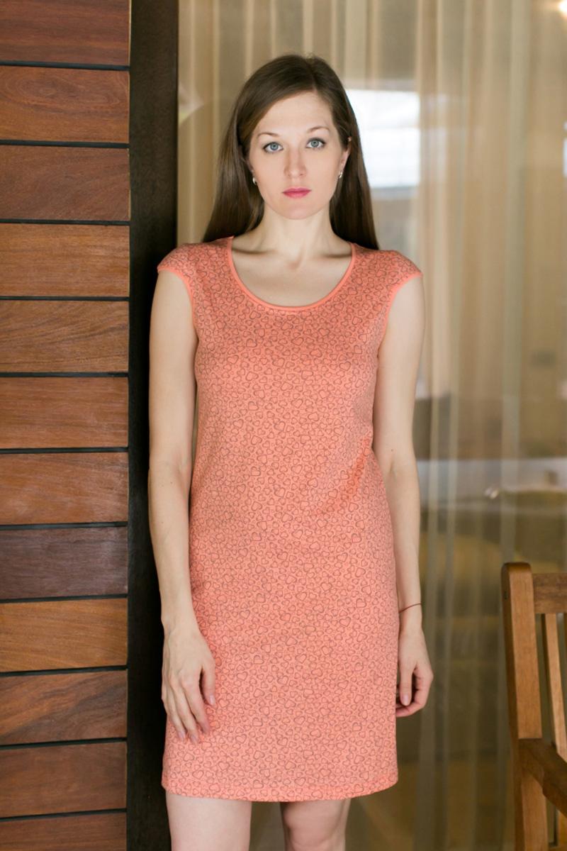 Платье домашнее Violett, цвет: оранжевый. 17110732. Размер M (46)17110732Домашнее платье Violett выполнено из натурального хлопка. Платье-миди с круглым вырезом горловины и короткими рукавами оформлено стильным принтом.