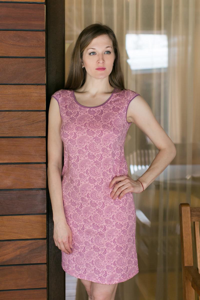 Платье домашнее Violett, цвет: розовый. 17110732. Размер M (46)17110732Домашнее платье Violett выполнено из натурального хлопка. Платье-миди с круглым вырезом горловины и короткими рукавами оформлено стильным принтом.
