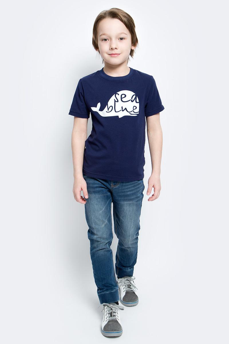 Футболка14744Футболка для мальчика КотМарКот изготовлена из качественного хлопка с добавлением лайкры. Модель с круглой горловиной и короткими рукавами оформлена на груди оригинальным принтом.