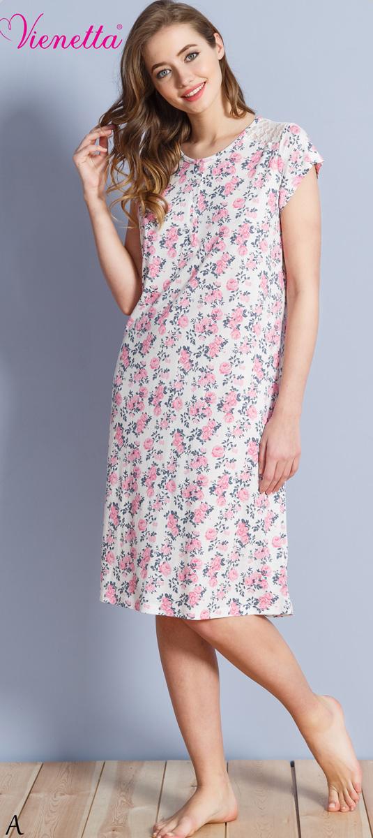 Платье домашнее610257 1324Женское домашнее платье Vienettas Secret выполнено из 100% вискозы. Изделие имеет круглый вырез горловины, короткие рукава и длину миди. Модель свободного кроя не стесняет движений и комфортна для домашней носки. Платье дополнено цветочным рисунком.