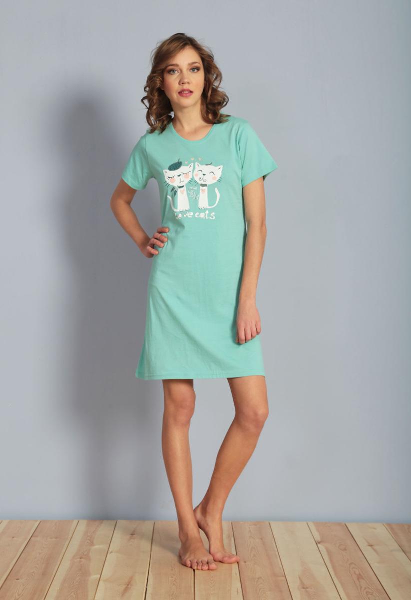 Платье домашнее Vienettas Secret, цвет: ментоловый. 611088 0000. Размер M (46)611088 0000Домашнее платье Vienettas Secret выполнено из 100% натурального хлопка. Изделие имеет круглый вырез горловины, стандартные короткие рукава и длину мини. Модель прямого кроя не стесняет движений и комфортна для домашней носки. Платье выполнено в однотонном дизайне и дополнено забавным изображением кошек.