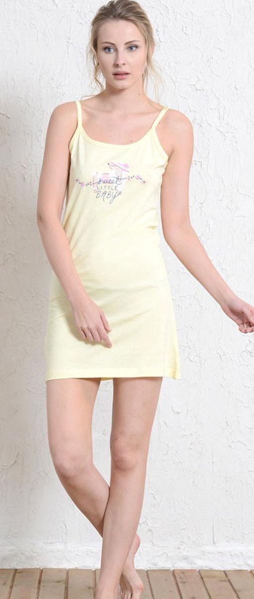 Платье домашнее409183 4011Женское домашнее платье Vienettas Secret выполнено из 100% натурального хлопка. Изделие на бретельках имеет декольте с круглым вырезом и длину мини. Модель не стесняет движений и комфортна для домашней носки. Платье выполнено в однотонном дизайне и дополнено надписями.