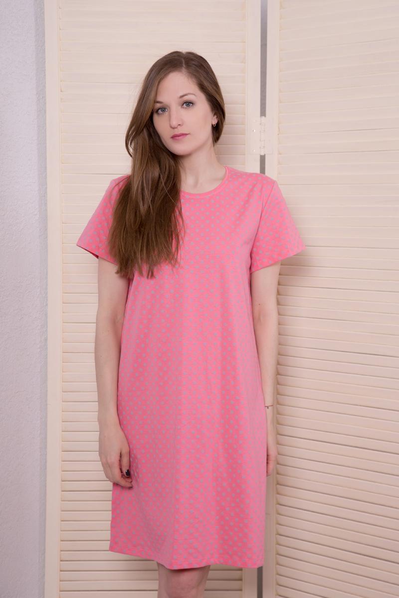 Платье домашнее Violett, цвет: коралловый, серый. 17110811. Размер XXL (52)17110811Домашнее платье Violett выполнено из натурального хлопка. Платье-миди с круглым вырезом горловины и короткими рукавами оформлено стильным принтом.