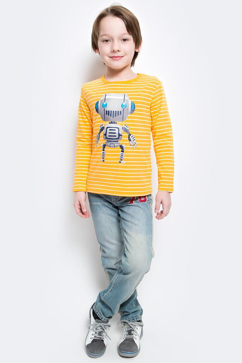 Футболка с длинным рукавом361074Уютный полосатый лонгслив для мальчика выполнен из органического хлопка и оформлен резиновым принтом с изображением забавного робота. Воротник дополнен мягкой эластичной бейкой. Яркий цвет модели позволяет создавать стильные образы.