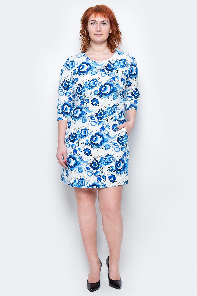 Платье Milton, цвет: белый, голубой. WD-2511F. Размер 50WD-2511FПлатье А-образного силуэта с втачными рукавами длиной 1/2, с внутренними карманами в боковых швах.