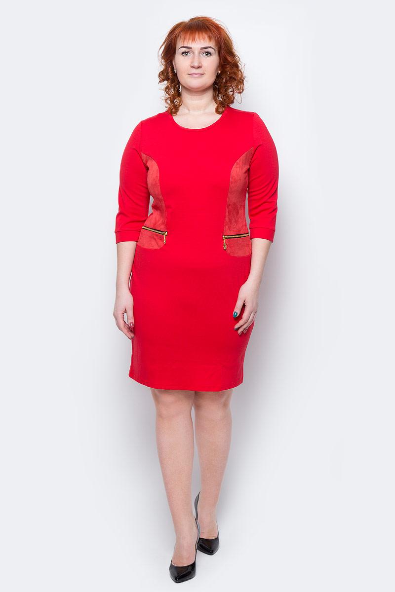 Платье Milton, цвет: красный. WD-2505F. Размер 50WD-2505FПлатье полуприлегающего силуэта, с рукавами длиной 1/2, с деталями отделки из искуственной замши. На полочках обработаны обманки-карманы с металлическими молниями.