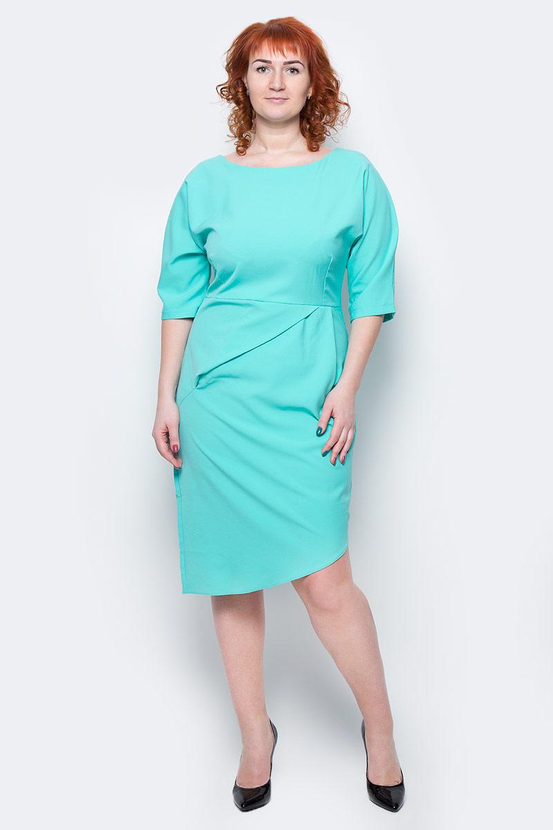 Платье Milton, цвет: ментоловый. WD-2504F. Размер 46WD-2504FПлатье полуприлегающего силуэта, с рукавами длиной 1/2, с отрезной талией. На юбке переда - глубока складка от талии.