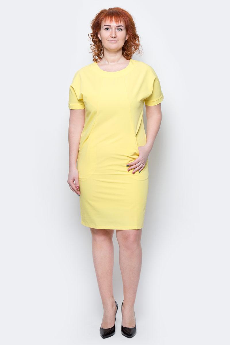 Платье Milton, цвет: желтый. WD-2513F. Размер 46WD-2513FПлатье прямого силуэта, с цельнокроенным коротким рукавом с манжетой. На полочке, в подрезах бочка - внутренние карманы.