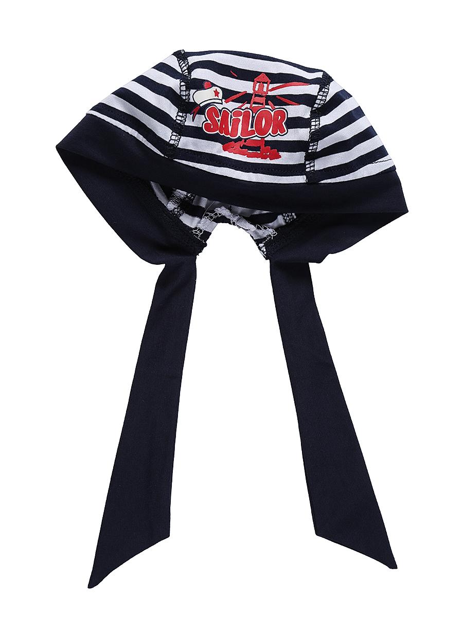 Бандана для мальчика Sweet Berry Baby, цвет: темно-синий, белый. 711078. Размер 50711078Удобная бандана для мальчика Sweet Berry, изготовленная из качественного эластичного хлопка, защитит голову ребенка от солнца и сильного ветра. Эластичные плоские швы обеспечивают максимальный комфорт при носке.Бандана оформлена принтом в полоску и аппликацией и фиксируется на голове широкими завязками.Уважаемые клиенты!Размер, доступный для заказа, является обхватом головы.