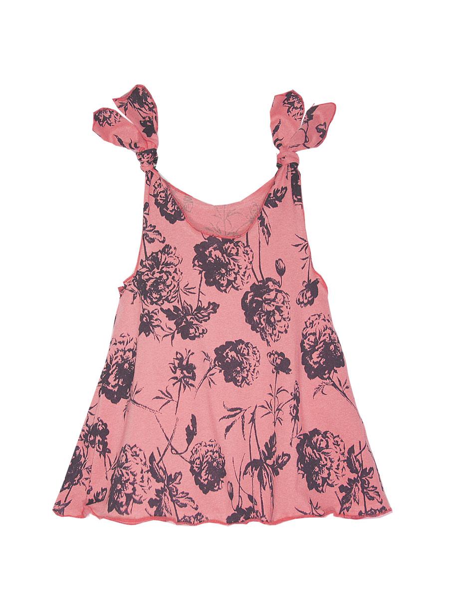 Платье для девочки КотМарКот, цвет: розовый, коричневый. 21409. Размер 11621409Платье КотМарКот выполнено из натурального хлопка, приятного на ощупь. Модель с круглым воротником без рукавов оформлена оригинальным принтом.
