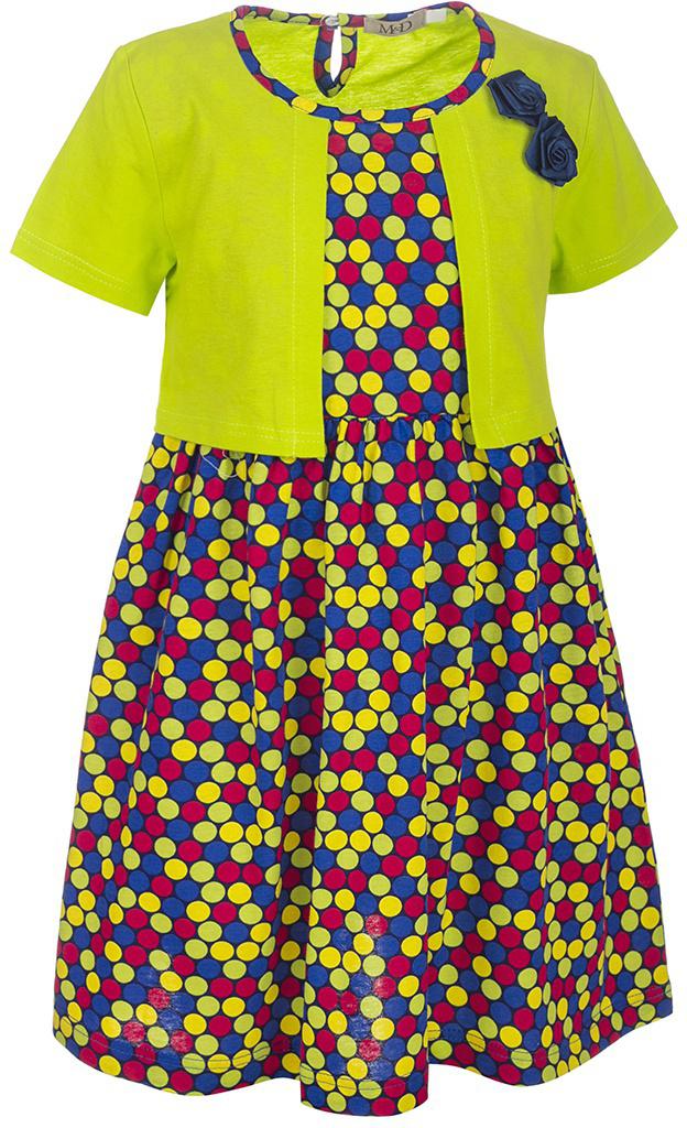 ПлатьеSJD27032M25Платье для девочки M&D станет отличным вариантом для прогулок или праздников. Изготовленное из мягкого хлопка, оно тактильно приятное, хорошо пропускает воздух. Платье с круглым вырезом горловины и короткими рукавами-фонариками застегивается по спинке на пуговицу. От линии талии заложены складочки, придающие платью пышность. Изделие оформлено принтом в разноцветный горошек и украшено бутончиками из атласной ленты. Отделка и расцветка модели создают эффект 2 в 1 - платья с жакетом.