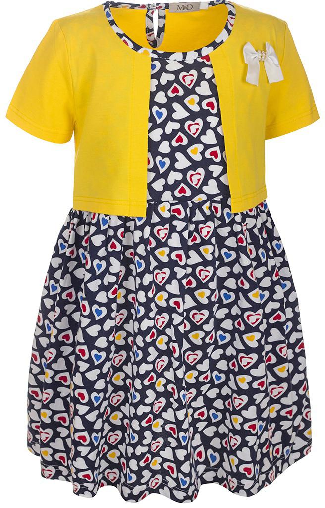 ПлатьеSJD27029M22Платье для девочки M&D станет отличным вариантом для прогулок или праздников. Изготовленное из мягкого хлопка, оно тактильно приятное, хорошо пропускает воздух. Платье с круглым вырезом горловины и короткими рукавами застегивается по спинке на пуговицу. От линии талии заложены складочки, придающие платью пышность. Изделие оформлено принтом в разноцветные сердечки и украшено бантом из атласной ленты. Отделка и расцветка модели создают эффект 2 в 1 - платья с жакетом.